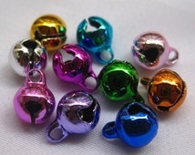 100pcs Assorted Colors 6mm Jingle Bells Bronze Small Charm Bead Supplies b013