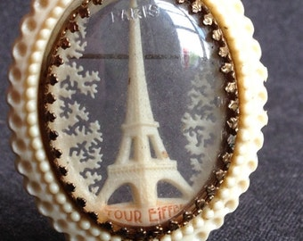 Majestic Eiffel Tower. Vintage brooch souvenir from Paris.