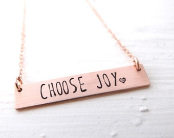 Choose Joy Gold Bar Necklace. Hand Stamped Jewelry. Minimalist, Engraved Necklace. Layering Bar Necklace, Simple Gold Jewelry, Affirmation