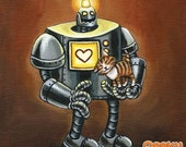 30% OFF SALE Robot and Kitten - 8x8 art print - Retro robot loves little kittens on a brown background