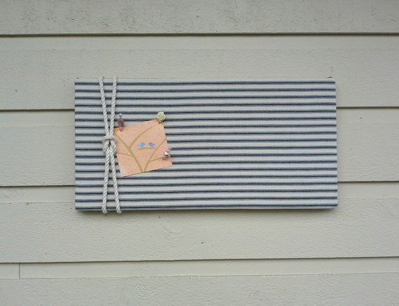 Linen ticking pin board blue and white striped by for Linen cork board