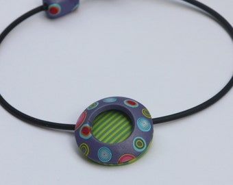 Round pendant necklace in two layers, polymer clay millefiori