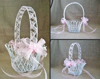 Summer Sale Shabby Sweet Petite Basket / Dainty White Flower Girl Basket with Keepsake Heart Charms
