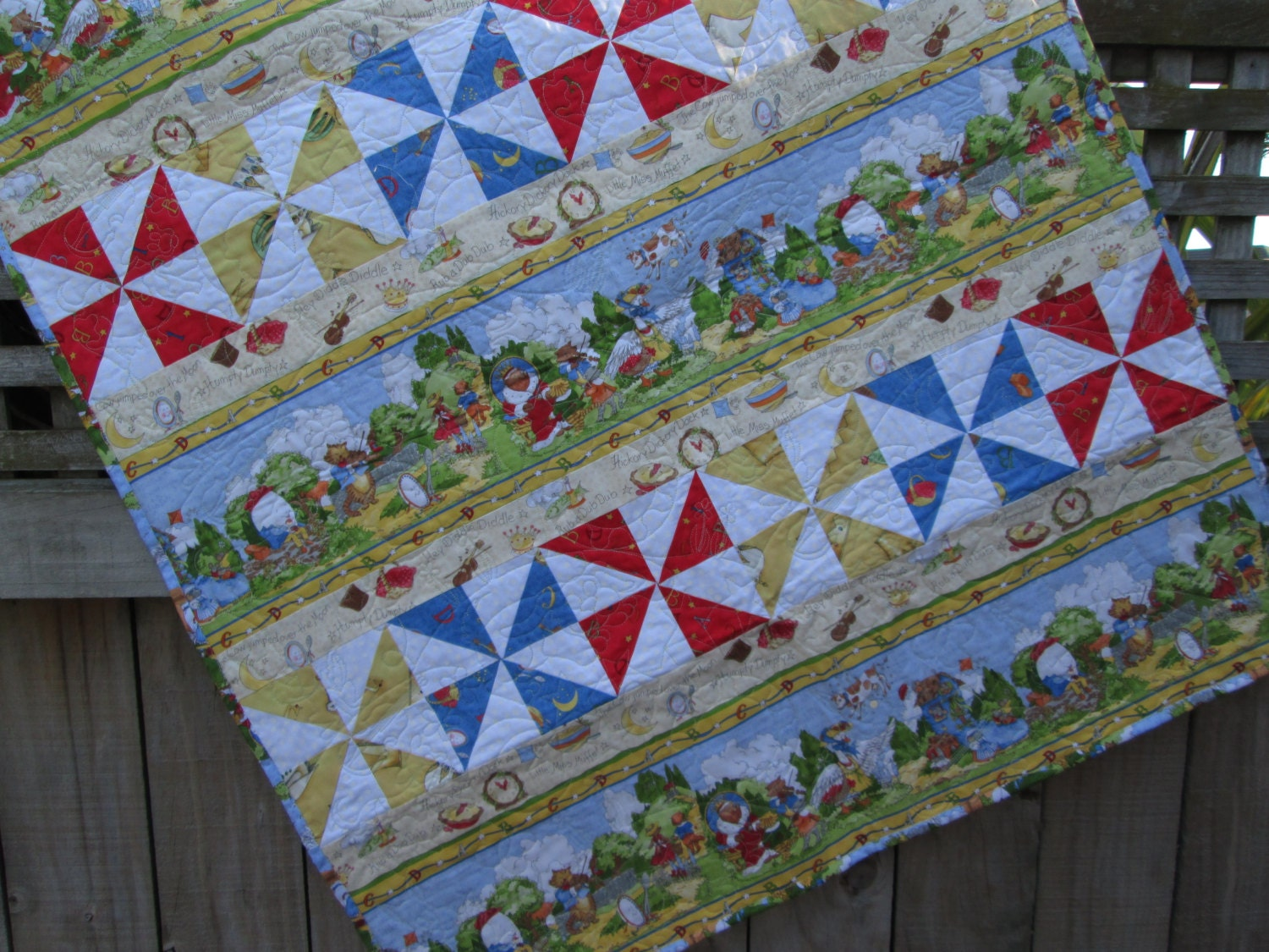 Nursery rhyme quilt gender neutral baby quilt modern baby for Unisex baby fabric