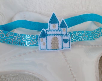 Disney Castle Inspired Headband- Cinderella's Castle- Blue and Silver Metallic Swirls- Disney World Accessory for Babies, Toddlers, Girls