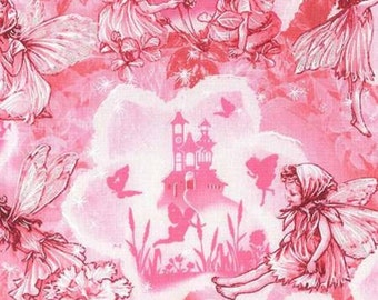Michael Miller Flower Fairies Pink Fairy Dreamland with Metallic- 1 yard