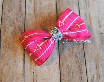 Double layer bow tie bow....Arrow in hot pink and white