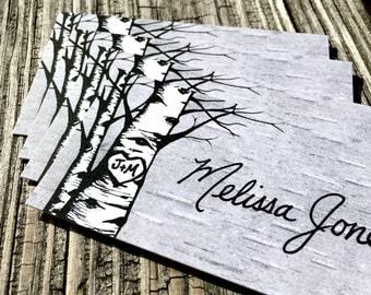 White Birch Trees Personalized Wedding Place Cards, hand lettering available