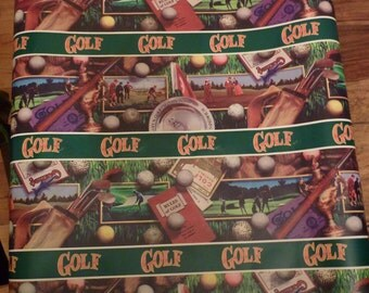 Vintage Golf Wrapping Paper / Gift Wrap / Roll / 60's / 70's