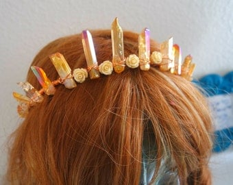 Orange Crystal Sparkle fantasy fairy crown flower headdress