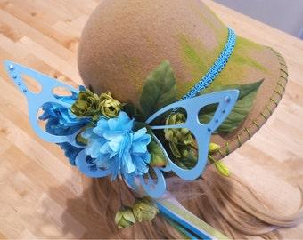 Fairy Hat Blue Butterfly Felt Hat