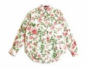 Rose Illustration 90's Tommy Hilfiger Blouse with Curved Hemline + Crisp 100% Cotton + Smart Workwear Button Up // Size Medium