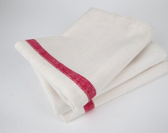 Antique French Linen. Red Stripe Linen Table Linen.  Table Runner. Hand Towel.