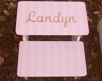Gold and Pink, Custom Wooden Kids  Step Stool,  Pink Stepstools, Nursery Decor,Stripes, Personalized  Kids furniture