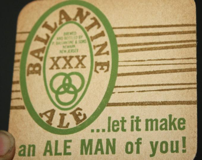 Lot of 4 Vintage Ballantine XXX Ale Beer Coasters; 1960s NOS Breweriana; P. Ballantine & Sons, Newark NJ