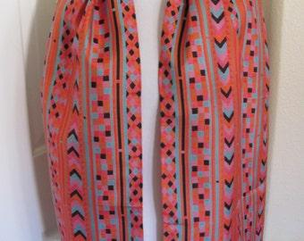 "Jim Thompson // Orange Red Southwestern Design Soft Thai Silk Scarf // 12"" x 60"" Long // Best of the Best"