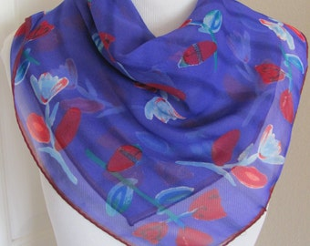 "Beautiful Purple Red Sheer Silk Scarf  // 21"" Inch 52cm Square"