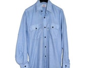 ON SALE Vintage LEVIS Blue White Striped 1970's Worker Shirt Mens M Medium Railroad Stripe Vertical Lines