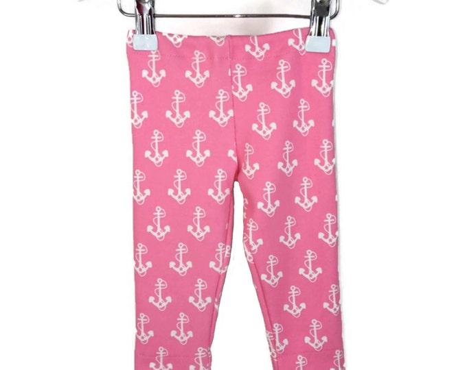 Leggings girls, White anchor on pink, leggings anchor, girls outfit, baby girl leggings, pink leggings, size newborn - 18 m