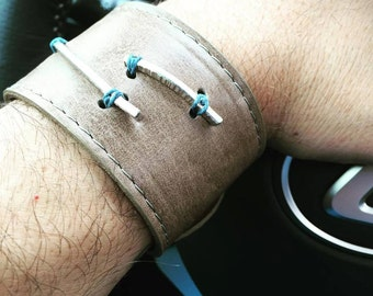 SALE!!! Unisex Leather Cuffs with Sterling Silver Bars Hand Sewn On in Various Colors!