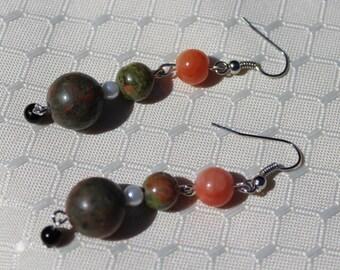Orange earrings - green earrings, earrings with orange and green beads, handmade earrings, gift for her, long earrings