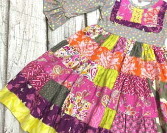 Knit Top Patchwork Twirl Dress