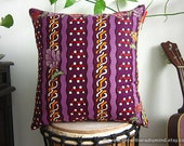 Purple Pillow Ethnic - Colorful Batik Throw Cushion Covers with Leaves and Flowers Motif