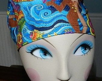 Only One Available  Celestial with Gold  European Style  Surgical Scrub Cap with Toggle