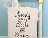 funny book bag -Book lovers gift - fun book tote - book themed grocery bag