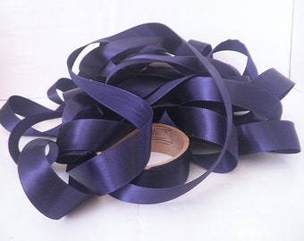 Vintage Half Inch Satin Ribbon Navy Blue 14 Yards