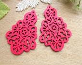 WP39 /  # 3 Fuschia /Wood Filigree Tear Shape Lace Dangle For Earring/Laser Cut Lace Charm / Pendant /  Filigree Wood Gift /Light earrings
