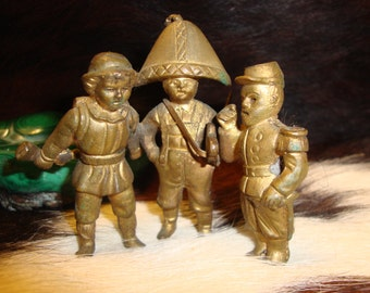 "Vintage Solid Brass Statue of 3 Soldiers Bearing Rifle  and Sword Under 3"" & Heavy"