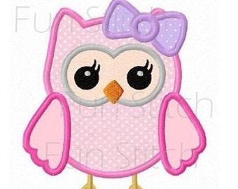 Cute girl owl applique machine embroidery design