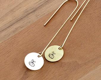 Long BEE earrings //round raw brass hook earrings // hand stamped jewelry