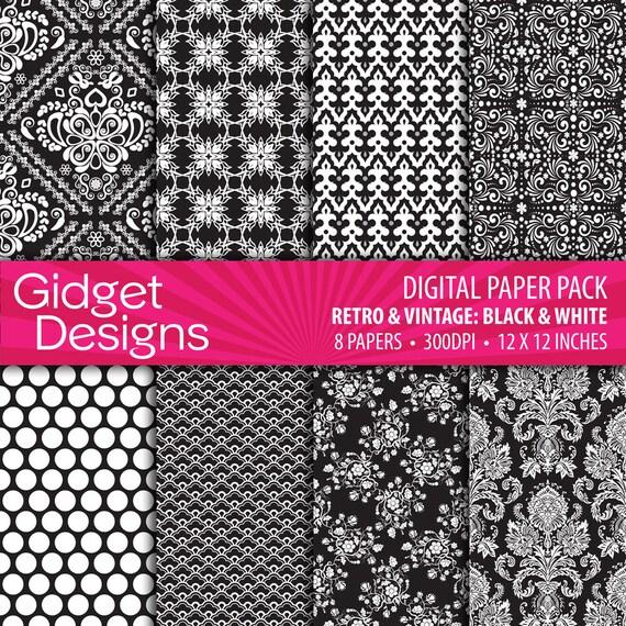 Black Digital Paper Pack Black Damask Black and White Paper Black Damask Patterns Instant Download Printable