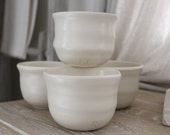 4.Porcelain POTTERY hand Thrown, Cup Bowls, ORGANIC Food Safe. French Farmhouse, Jeanne d Arc Living