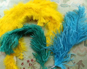 3 bright pieces vintage ostrich feather lot artisan projects 1940- 1980s flapper hat cloche