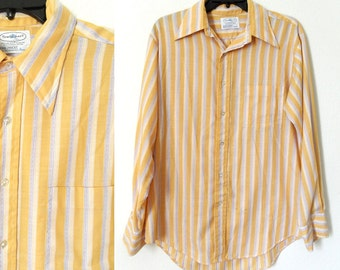 SUMMER SALE 70s Mens Yellow Purple and White Vertical Striped Long Sleeve Fitted Oxford Shirt Retro Hipster Kitsch size XL