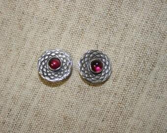 Silver Disc Earrings with Garnet. Garnet Stud Earrings, Solid Silver Earrings.Free Shipping.Israeli Made jewelry.