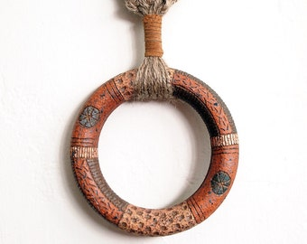 Jute & Leather Macrame Hanging with Ceramic Donut