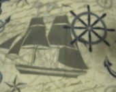 2 Layer Blanket - Come Sail Away with Me with Nautical Emblems with Gray - Ready to Ship Now