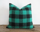 Wool Pillow Cover Buffalo Check Green Black Lumberjack Zipper