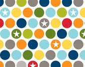 Green Blue Grey and Yellow Dot Star Flannel, Millitary Max by Bella Blvd for Riley Blake, 1 Yard