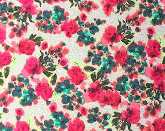Neon Pink Green Teal and Tan Floral Liverpool Knit Fabric, 1 yard