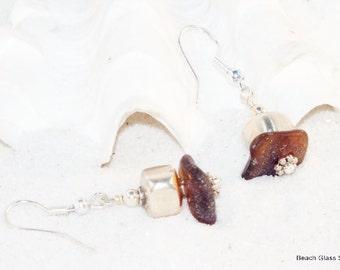Brown Sea Glass Jewelry - Lake Erie Beach Glass - Pierced Earrings, Beach Glass Earrings