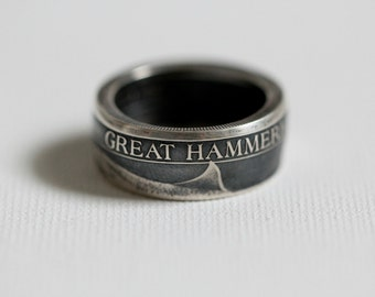 Custom Silver Hammerhead Shark Handmade Coin Ring, sizes 8-14