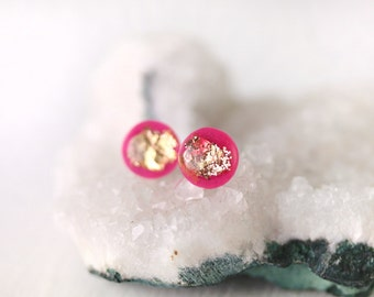 hot pink and gold leaf resin earrings on sterling silver posts