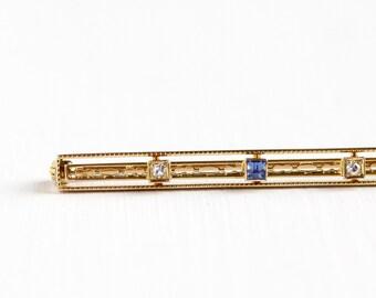 Sale - Antique Art Deco 14K Yellow Gold Created Sapphire & Diamond Bar Pin - Vintage Filigree 1920s 1930s Long Brooch Fine Linear Jewelry