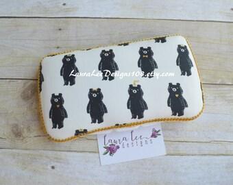 Black Bears Travel Wipe Case, Personalized Case, Diaper Wipe Case, Baby Wipe Case, Baby Shower Gift, Wipe Holder, Bear Hug
