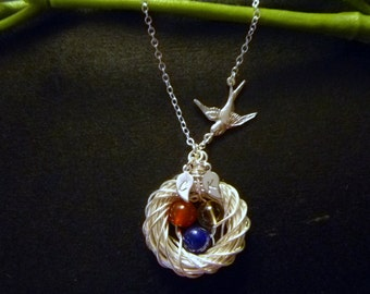 Birds Nest Necklace with 3 eggs and two initial leaves - Mom necklace - Mother's Day Gift -  Mama Birds - Mommy Necklace